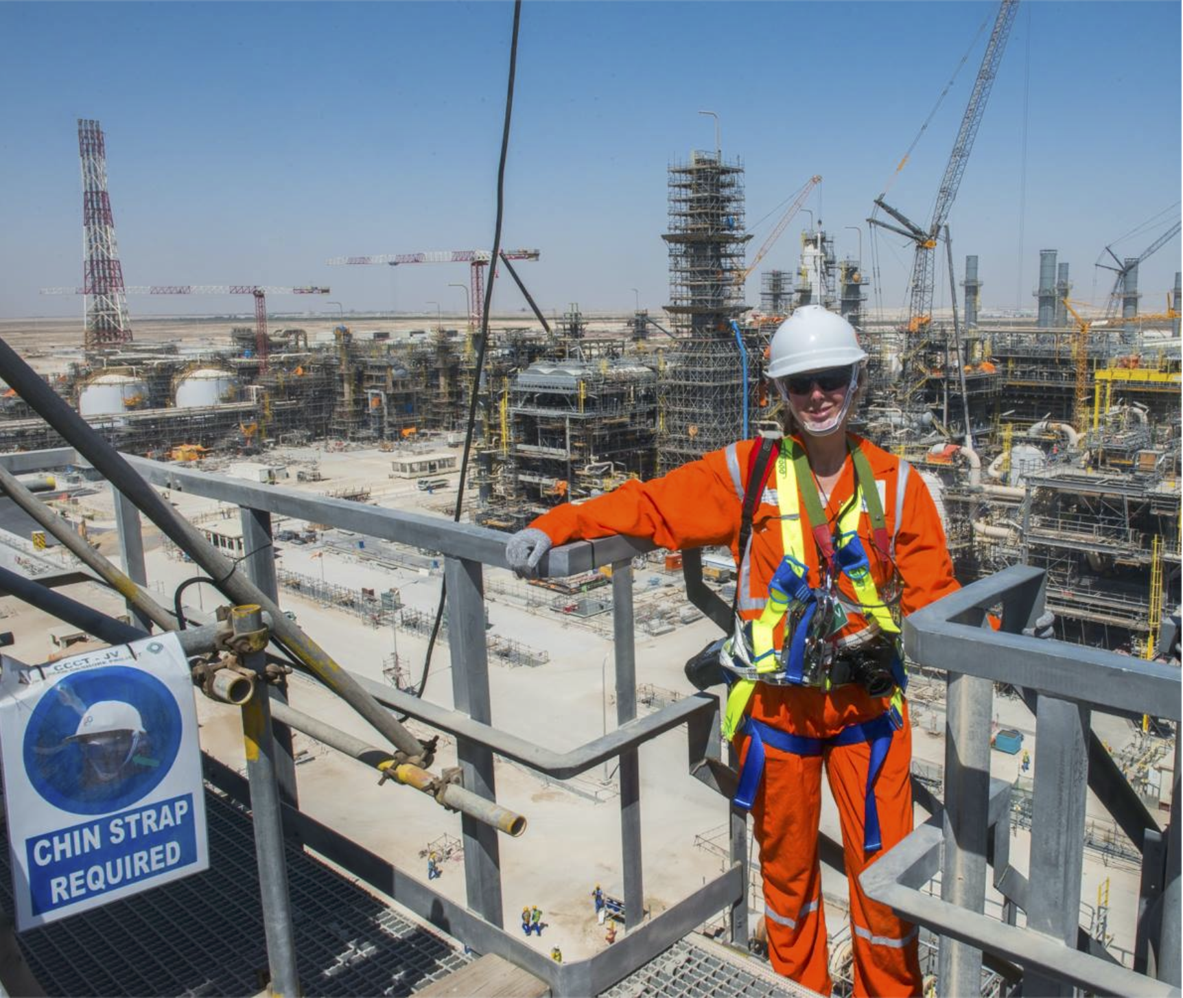 50 ºC (122 ºF) LNG plant under construction at Ras Laffan Industrial City in Qatar. More intense working conditions, and also fun!