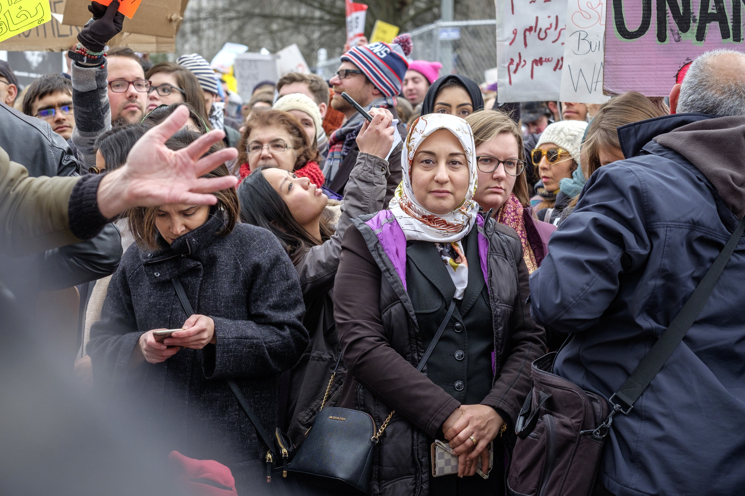 "A woman is seen at the first Anti Immigration Ban rally in front of the White House on Saturday, January 29, 2017 in Washington, DC. Thousands gathered to protest Trump's executive order banning immigration by refugees and foreign nationals from seven predominantly Muslim countries into the United States. Demonstrators marched from the White House to the U.S. Capitol chanting ""Say it loud, say it clear, refugees are welcome here!"""