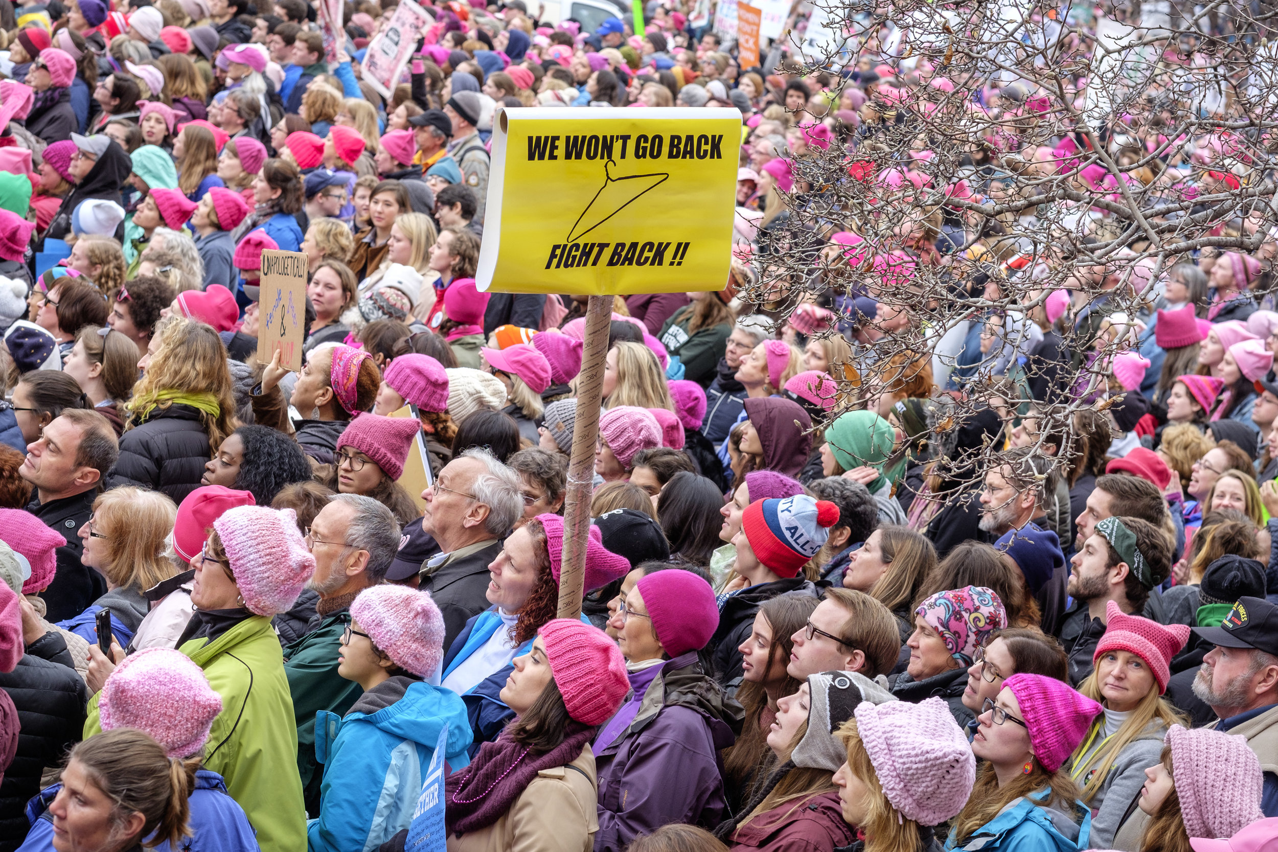 "A vast crowd is seen at The Women's March in Washington, DC on Saturday, January 21, 2017. The day after Donald Trump's inauguration as 45th U.S. president it is estimated that at least 500,000 people marched in The Women's March on Washington, and 1 million people world-wide. People came together to proclaim unity and to stand firm on the principles of human rights. ""Women's Rights are Human Rights and Human Rights are Women's Rights."""