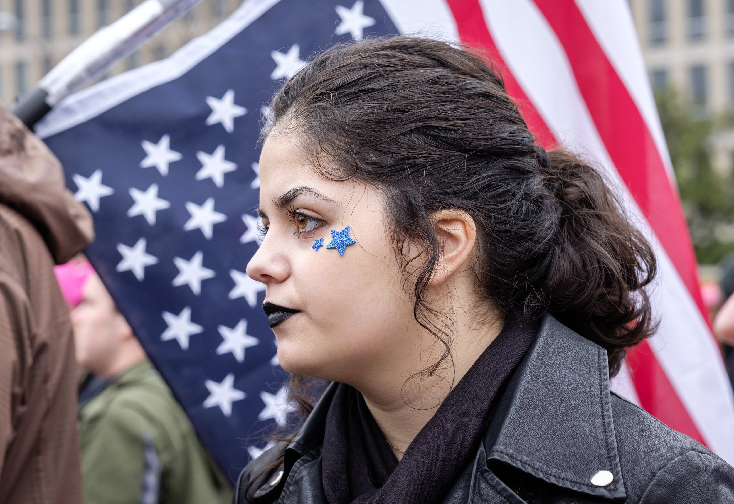 """A woman is seen at the first-ever Women's March on Washington on Saturday, January 21, 2017. It is estimated that over 500,000 marched, and well over 1 million people world-wide. People came together to proclaim unity and to stand firm on the principles of human rights. """"Women's Rights are Human Rights and Human Rights are Women's Rights."""""""