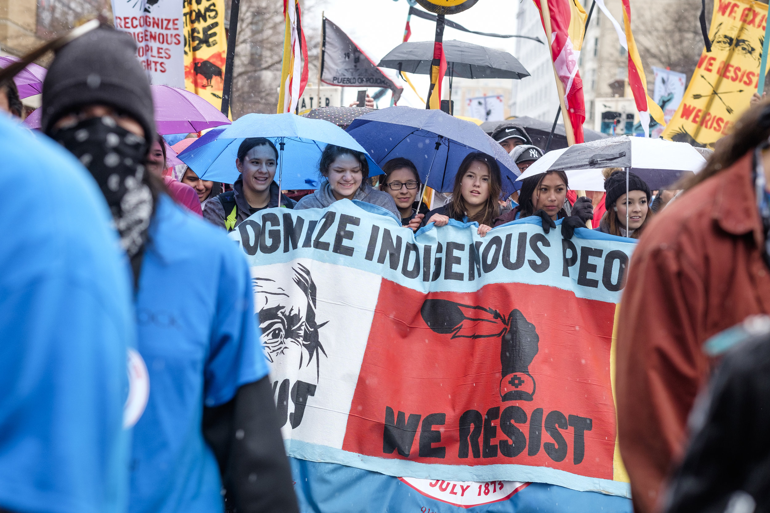 Students from the Standing Rock Sioux Tribe are seen as they lead the way at the Native Nations March in Washington, DC on Friday, March 10, 2017. The march organizers call on all peoples to stand in solidarity with indigenous rights. Indigenous Rights mean Climate Justice. Indigenous Rights protect water, air, and land. Indigenous Rights go hand in hand with improved human rights for black and brown communities.