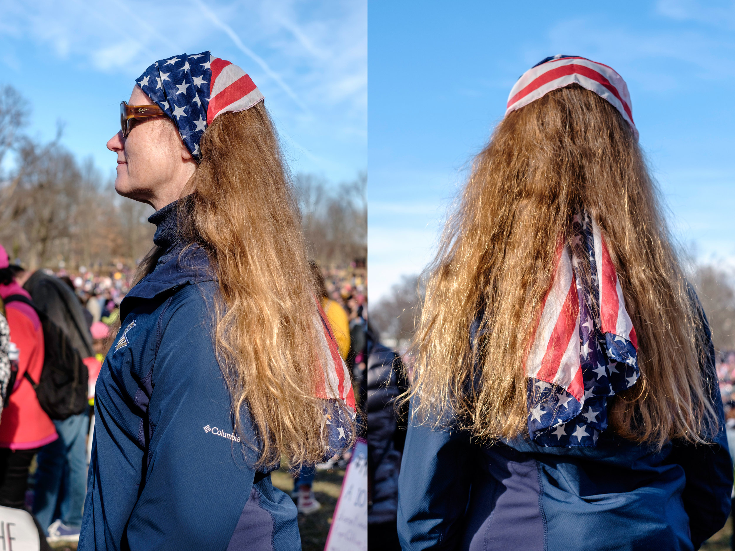 """Jennifer Brinkerhoff from Maryland is seen at the anniversary of the Women's March on Saturday, January 20, 2018 in Washington, DC. She had this to share about why she was in attendance at the march, """"I'm here today because this is such an important time in the history of our country, not just for women's rights but for all rights. I'm wearing a scarf of the American flag that I got handed last year at this march. And I'm wearing it because now more than ever we also need to be proud of our country, and to be proud that we are able to do what we are doing here today. So in solidarity with those 'shit-hole' countries, we have rights, we need to exercise them and we need to embrace everyone."""""""