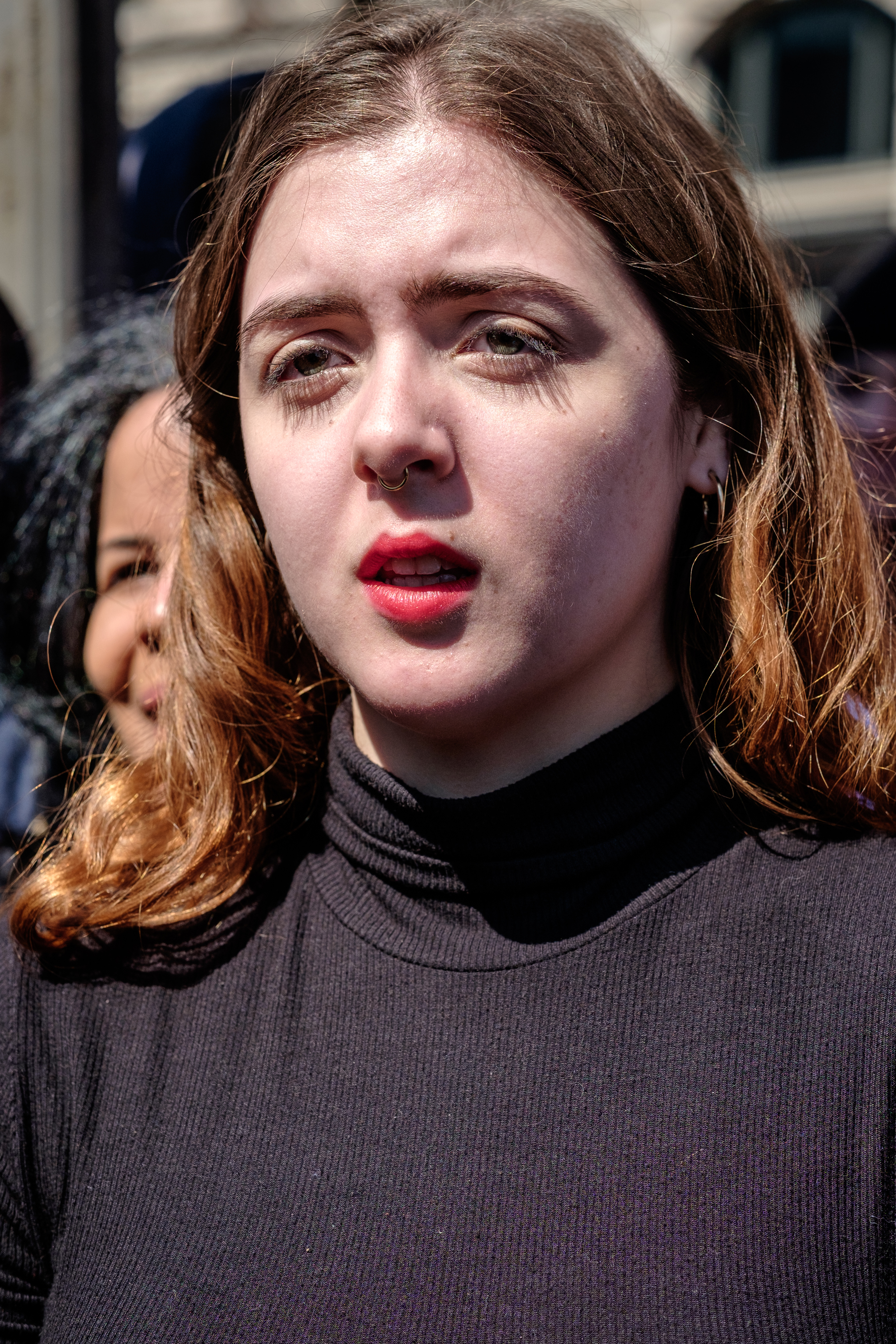 "Kestrel Coffee, a 19 year old college student from Falls Church, VA, takes part in the March for Our Lives Rally on Saturday, March 24, 2018 in Washington, DC. She had this to say, ""I'm a student. You know, I'm a college student, but I'm a student. It breaks my heart every single time. I want to be an educator, and I want to be an influencer and I feel like there's no way we can change the world unless we all come together and work hard at it. I mean, this is the only way to get things done. And, you know, I feel absolutely honored to be able to take part. And as a young person I feel like it's so easy to be overlooked but no more."" March For Our Lives is a student-led movement   to end gun violence in the United States. Hundreds of thousands of people took to the streets of Washington, DC to demand that peoples' lives and safety become a priority and to put an end to gun violence in communities and schools immediately. Over 800 sibling marches took place across the U.S. and internationally."
