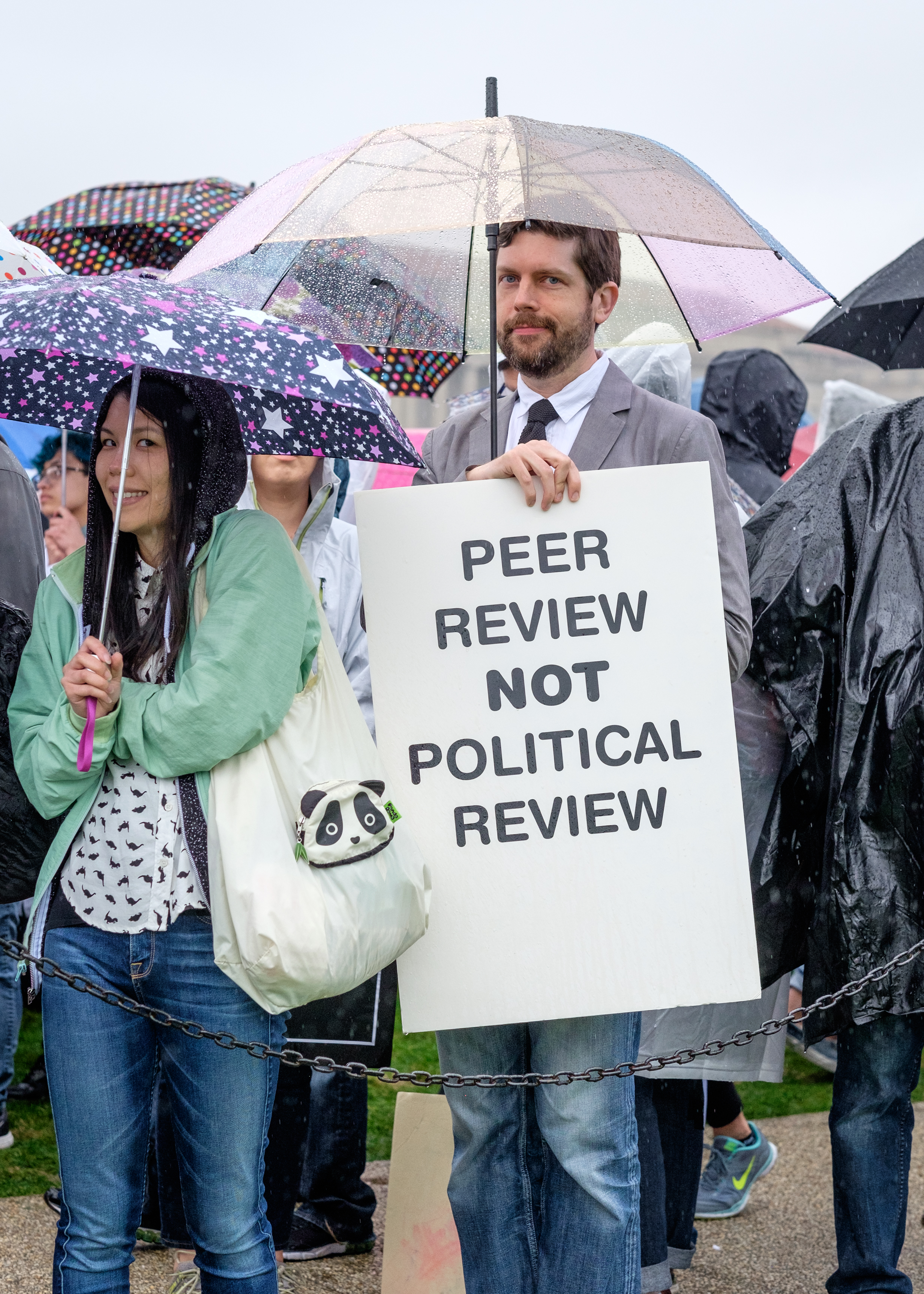 """Mike Myers of Arlington, VA is seen at the March for Science on the National Mall on Earth Day, Saturday, April 22, 2017 in Washington, DC. He attended the march """"to support non-partisan research and to keep politics out of the process of discovery."""" Mike has worked in government funded research, most recently with DARPA on the engineering side. He joins thousands who have gathered in the nation's capital with scientists and science supporters across the world who are participating in the first-ever global march for science. More than 600 locations world-wide held March for Science events."""