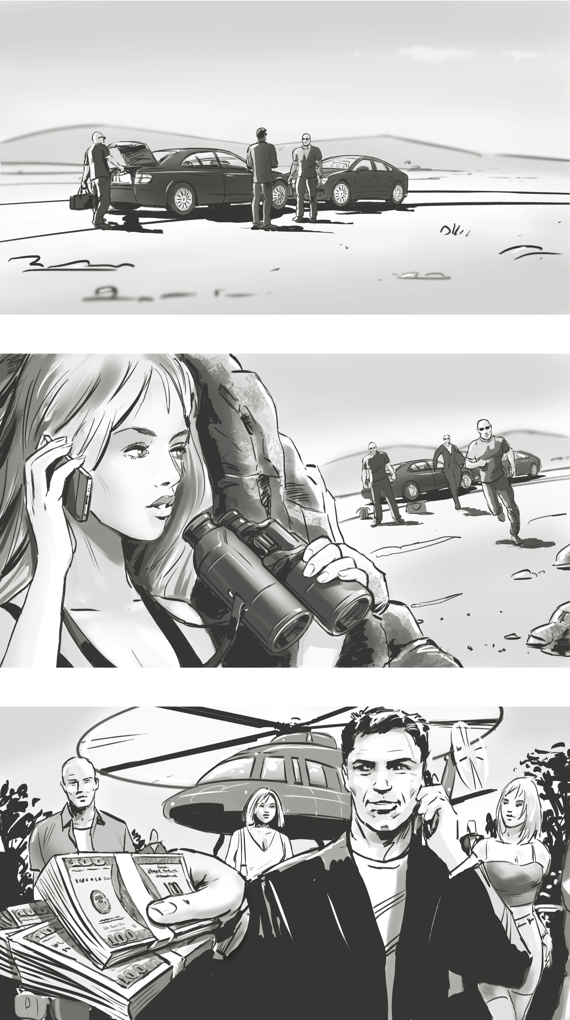 Storyboard frames for a movie concept.