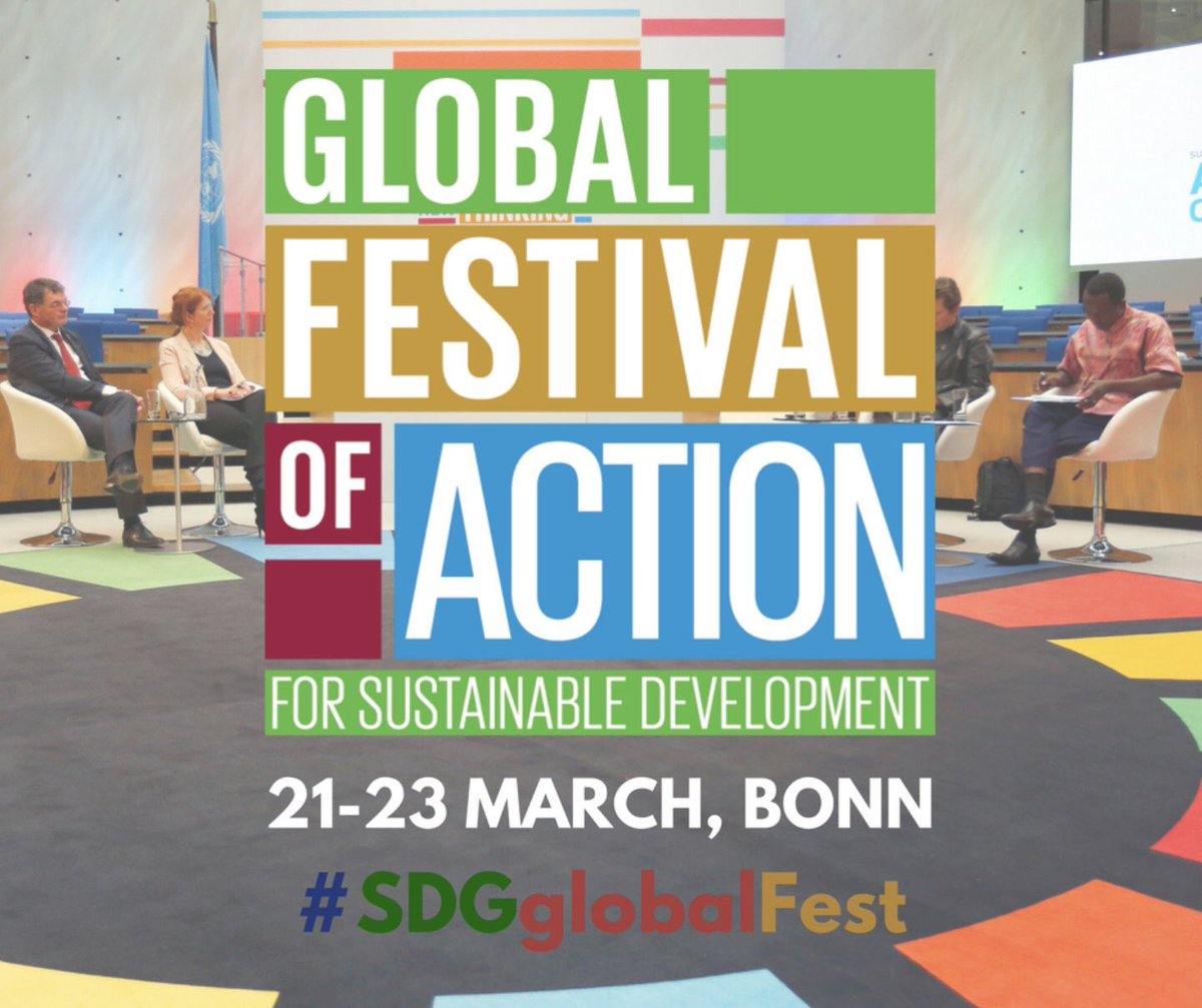 21-23 March 2018, Bonn, Germany    Global Festival of Action for Sustainable Development   A diverse and jam-packed programme of thematic sessions for Festival-goers, spanning the three days of the event. Sessions are grouped around the 2018 core Festival themes: innovation approaches, citizen engagement, communicating the SDGs, mobilising action and multi-stakeholder engagement. The festival connects an inspiring mix of business leaders, activists, UN representatives, academia, governments, innovators, global organisations, and the media from across the globe to share their insight and experience in a truly phenomenal and hands-on atmosphere.