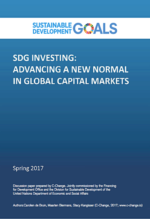 SDG INVESTING: ADVANCING A NEW NORMALIN GLOBAL CAPITAL MARKETSThis report, which was commissioned by the Department of Economic and Social Affairs of the United Nations (UN-DESA), seeks to contribute to the ongoing and expanding discussion on how to increase and optimize the involvement of the private sector in financing sustainable development. Its main objective is to understand the financing challenges of the landmark agreements through a private sector lens. The report highlights the need for a 'sustainable financial system,' flags the critical role of investment capital in sustainable development finance, describes drivers and barriers to investing with impact as well as to using the SDG framework of choice, and reviews available public sector mechanisms for advancing the role of private sector capital in development finance. -