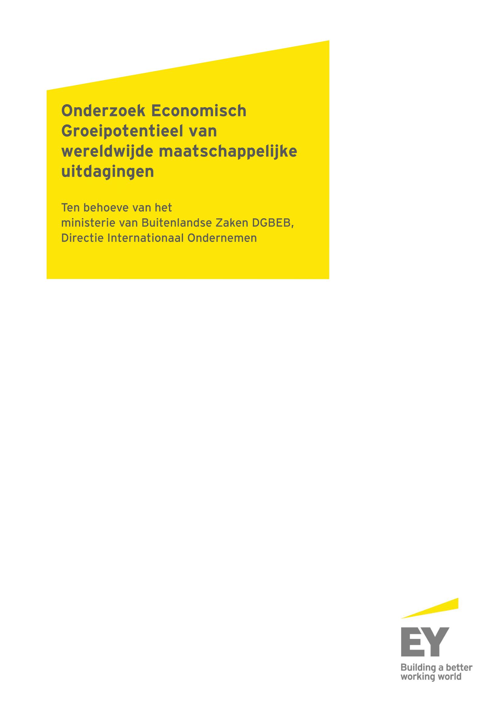 Onderzoek Economisch Groeipotentieel van wereldwijde maatschappelijke uitdagingen .  In collaboration with  Ernst & Young . (2017)