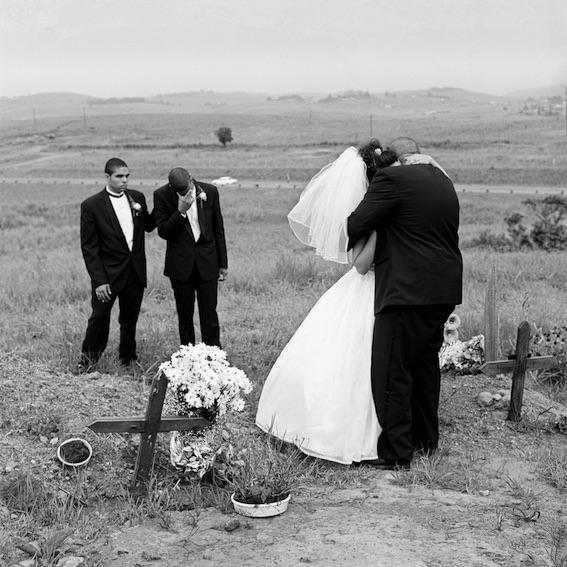 Deborah Eksteen and Noel Norris visiting the grave of Deborah's recently deceased father, Mangete, KwaZulu-Natal, 2001