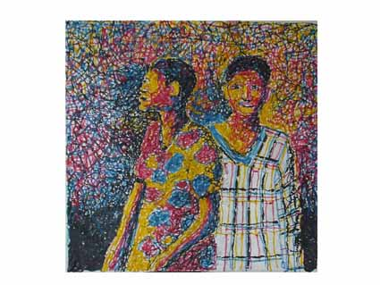 Mbongeni Buthelezi, Two woman I, 2001, plastic collage, 119 x 119 cm, courtesy Galerie Seippe, 4.000,- Eurol.jpg