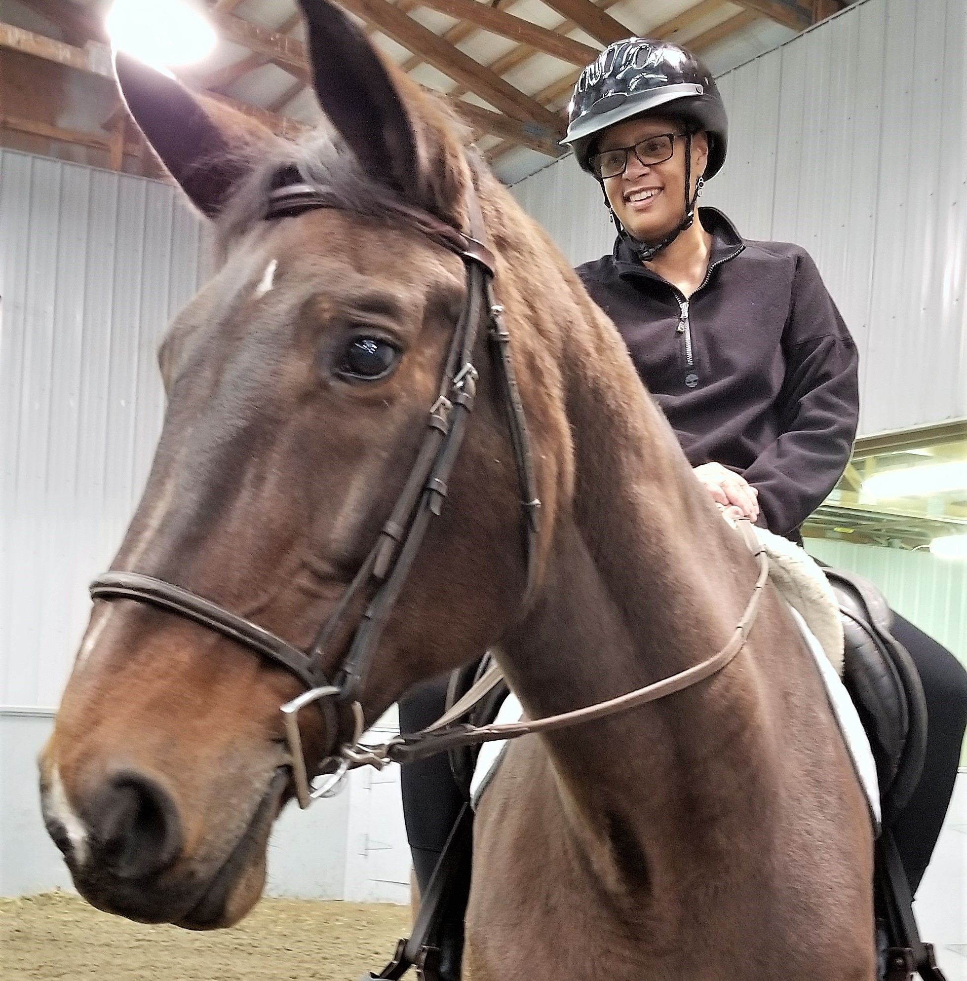 "Joy states ""Trotting on Myrell makes me feel free and truly present in each moment - a true gift!"""