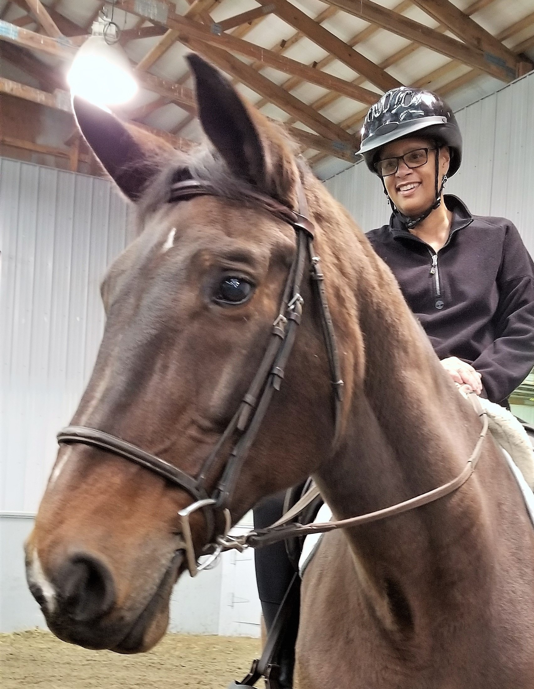 "JOY:   ""Thank you so much for making my re-entry on getting back on a horse such a positive experience. The freedom I feel can't be described in words.  The Horses for Healing  program was so positive for me. I enjoyed each week and everyone at Mane Stream."""