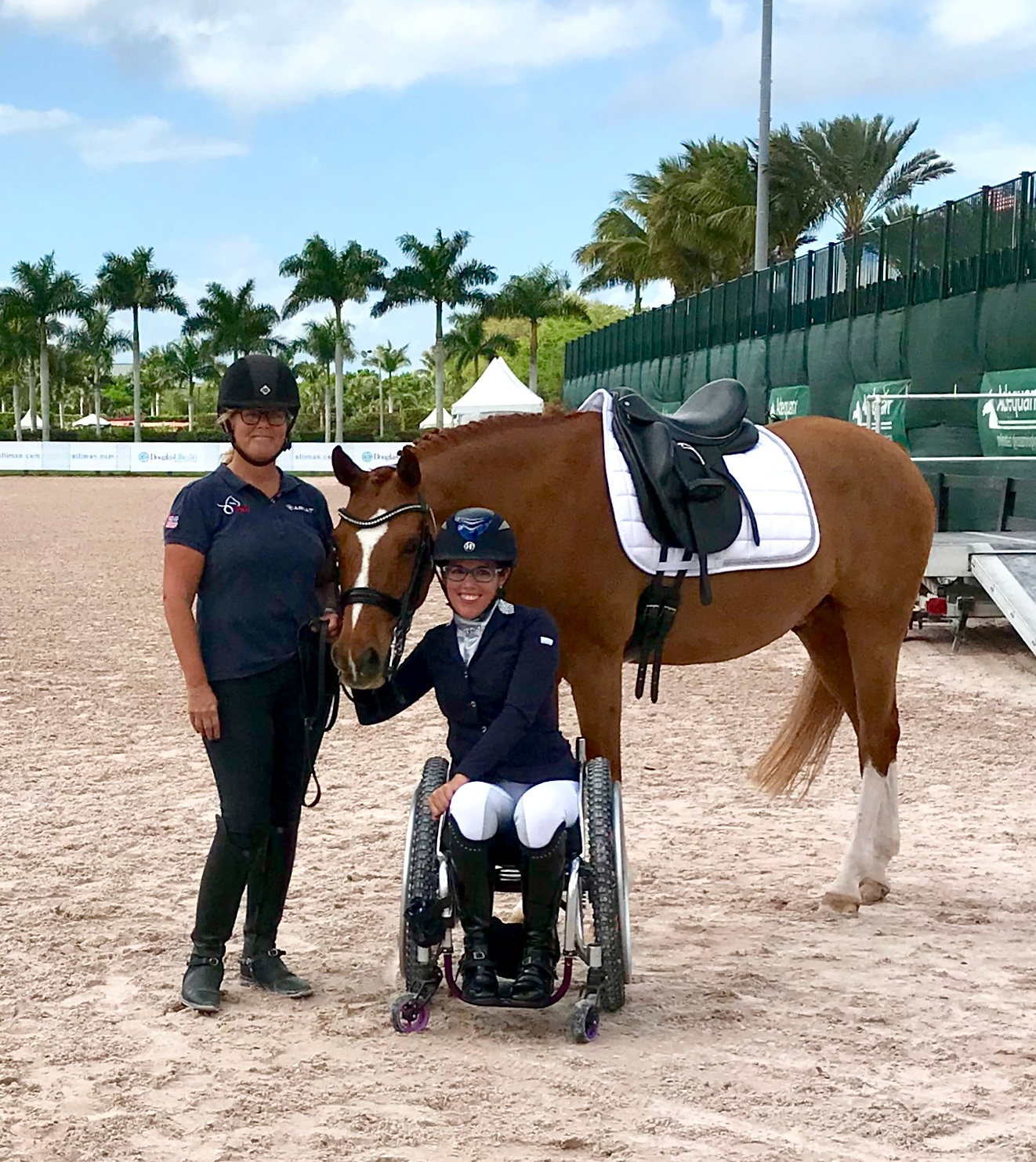 (l to r: Trainer, Sara Schmitt with Alana Flax-Clark and with her Dutch Riding Pony, El Paso (Taco) at Wellington's Adequan Global Dressage Festival.)