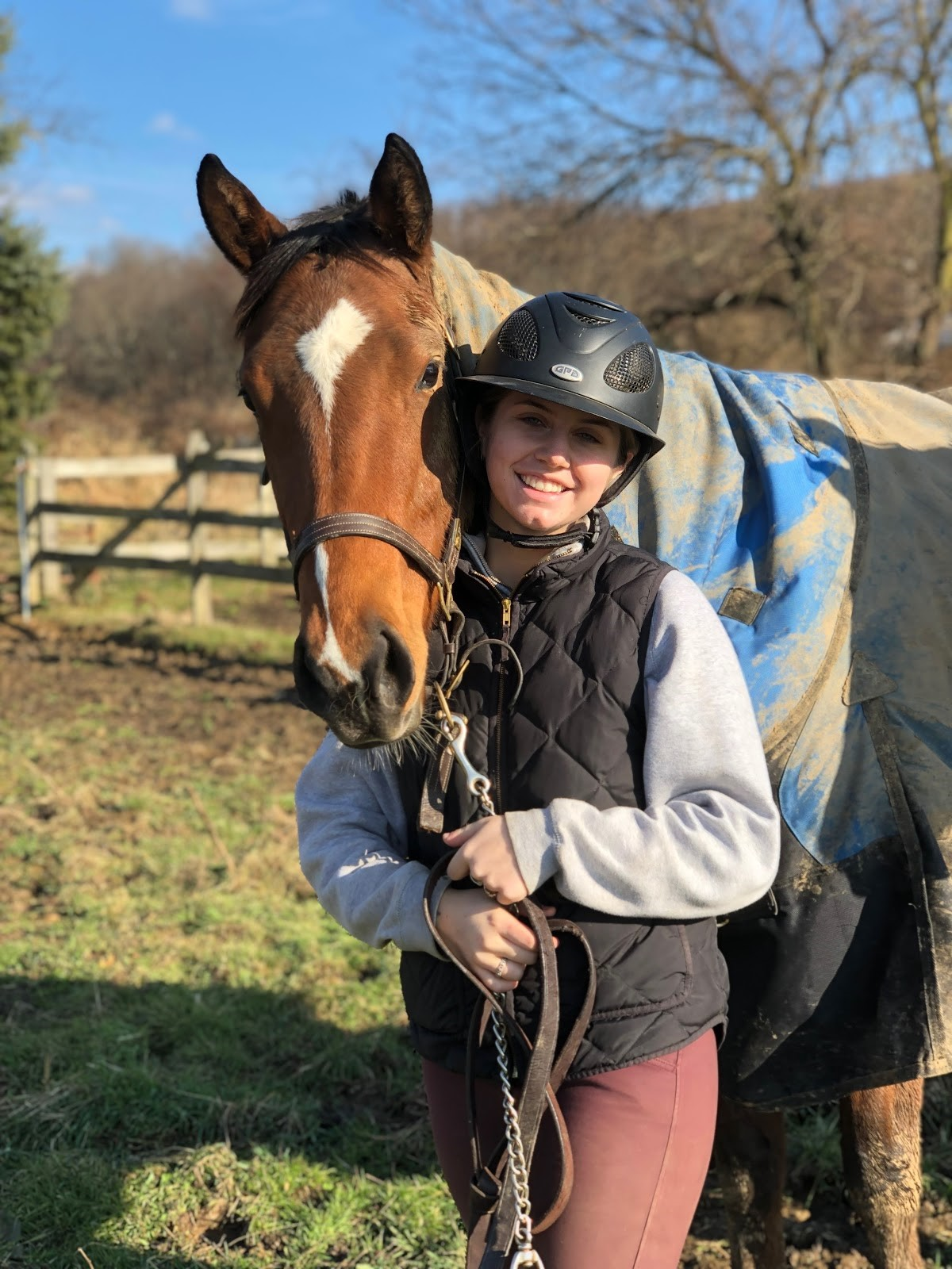 Megan Roswech with Pie, one of her three horses.
