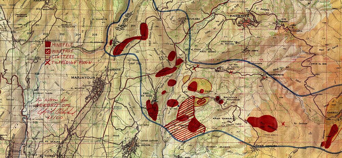Minkarta över sydöstra Libanon
