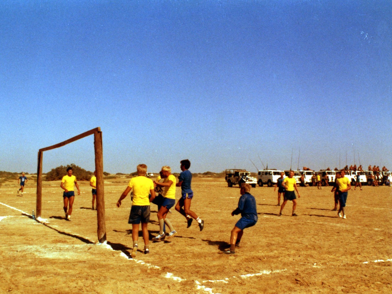 Fotbollsmatch mot israelerna / Foto: Lars-Åke Jansson