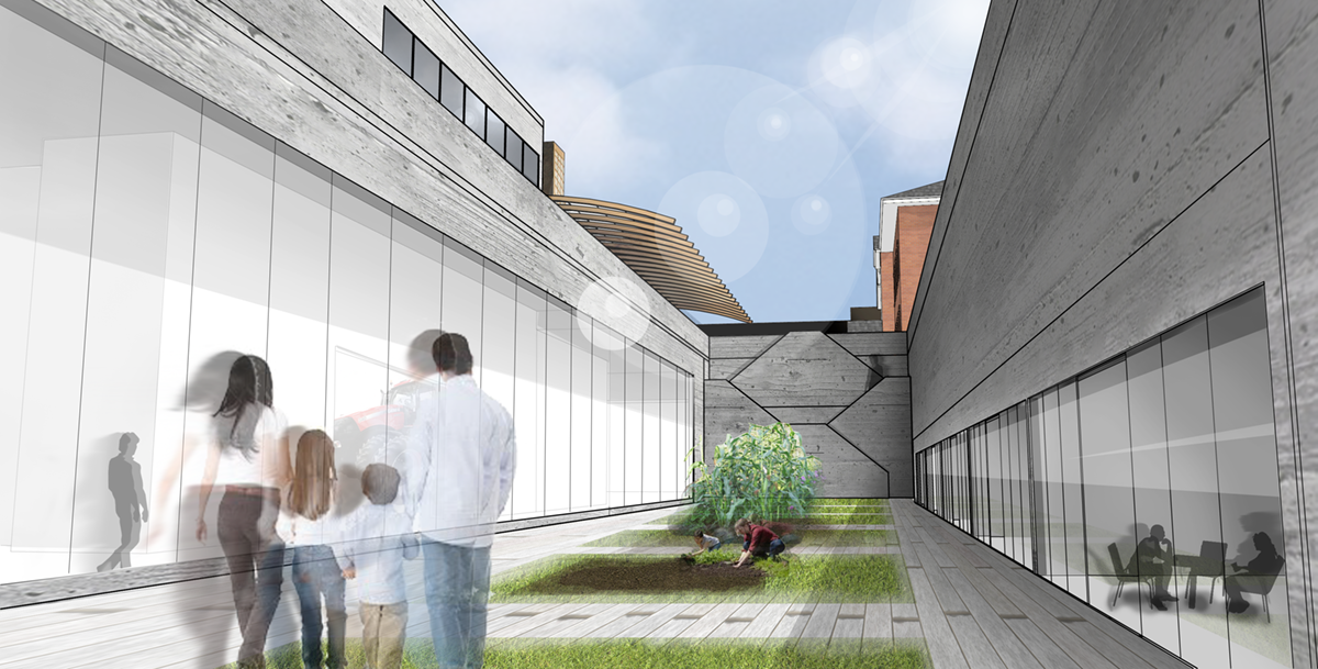 Rendering of sunken educational gardens