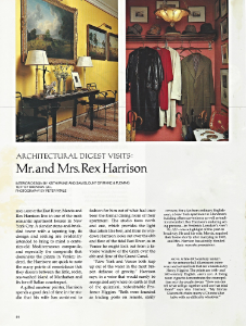 "December 1985    Architectural Digest, ""Architectural Digest Visits Mr. and Mrs. Rex Harrison""     Designers: Keith Irvine and Sam Blount    Zuber"