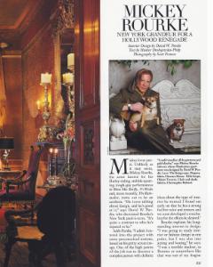 """December 1999  Architectural Digest, """"Hollywood at Home: Mickey Rourke""""  Designer: David Purdie  Zuber"""