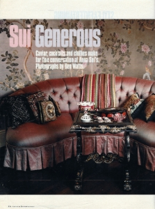 "November 2000  New York Times Magazine, ""Sui Generous""  Designer: Anna Sui  Gracie"