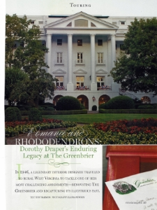 "July-August 2007  Victoria Bliss, ""Dorothy Draper's Enduring Legacy at the Greenbrier""  Designer: Dorothy Draper  Zuber Views of America"