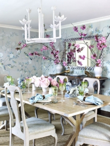 "February 7, 2017    House Beautiful,  ""Minty Fresh Makeover""    Designer: Elizabeth Bauer Watt    de Gournay Chinoiserie"