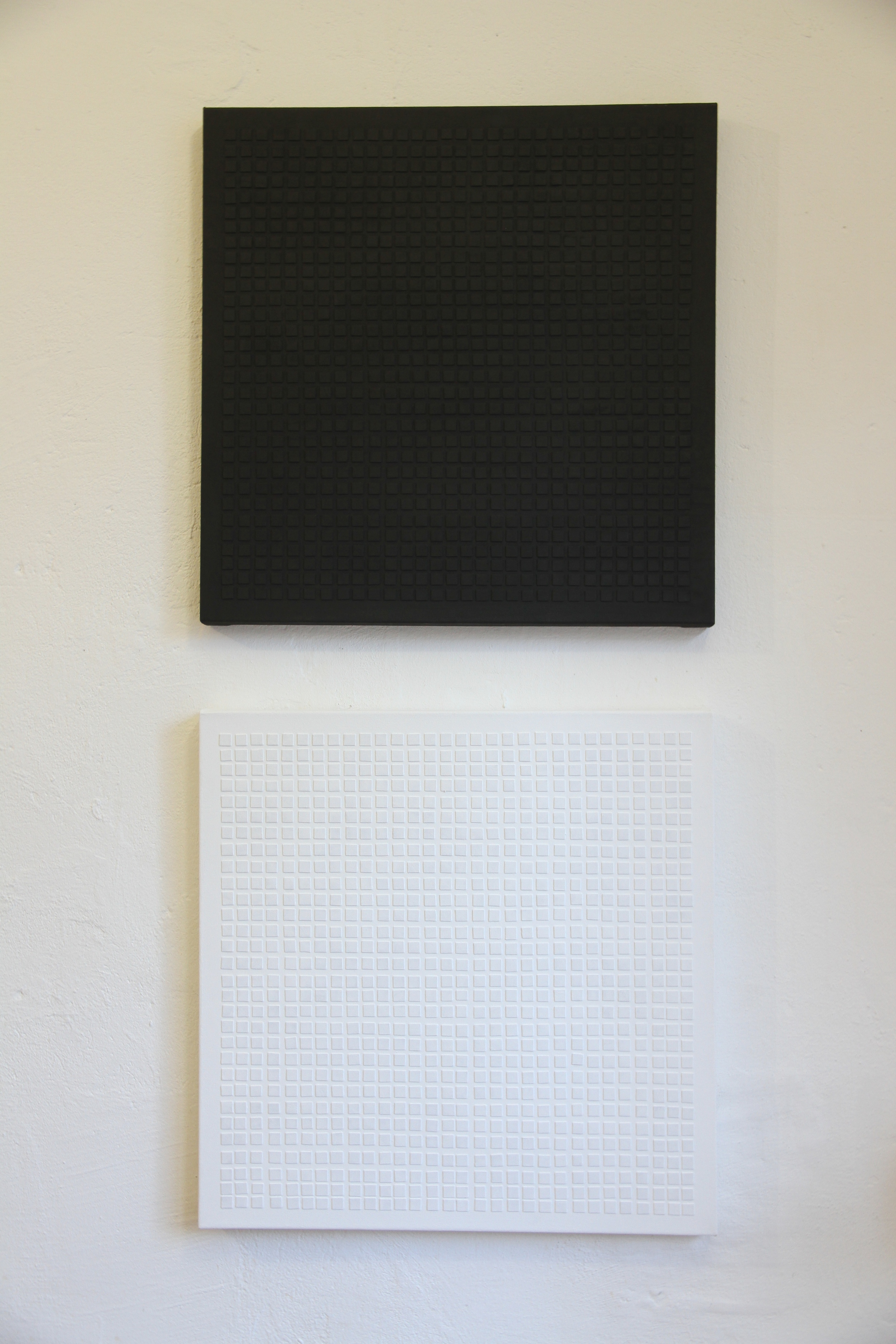 George Leo Sanders     Waffle,    2013 Flashe and leather samples on canvas Photo credit: Candice Strongwater