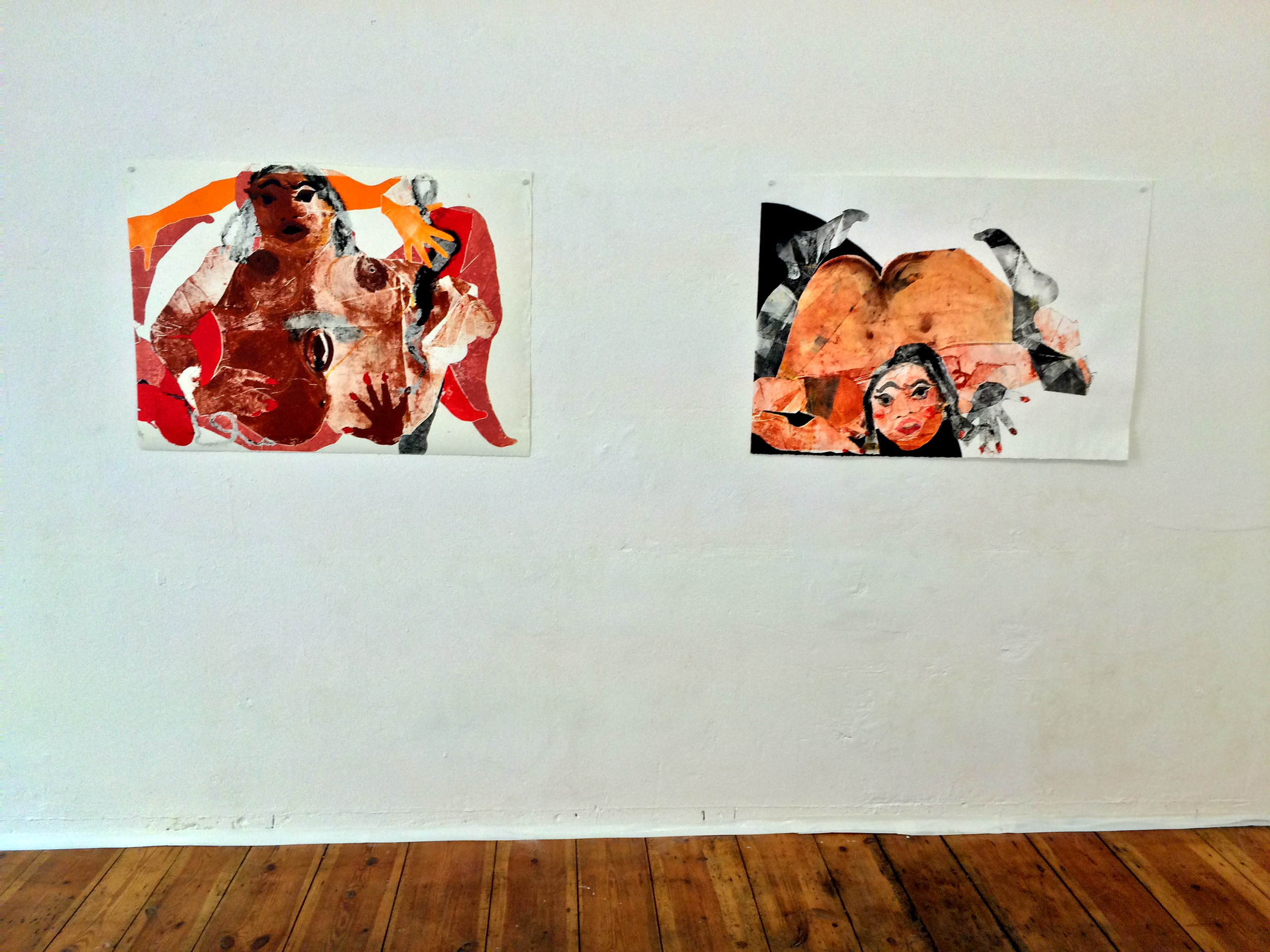 "Tschabalala Self  Head Over Heels  Installation view ""Origins of the New World,"" 2014 and ""Untitled,"" 2014 Oil and acrylic on paper"