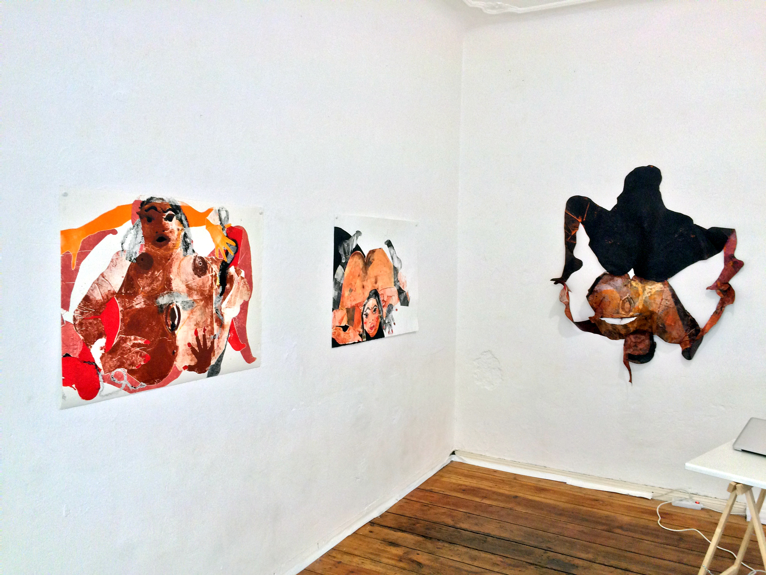 "Tschabalala Self  Head Over Heels  Installation view ""Origins of the New World,"" 2014, ""Untitled,"" 2014, and ""Contact,"" 2014 Oil and acrylic on paper"