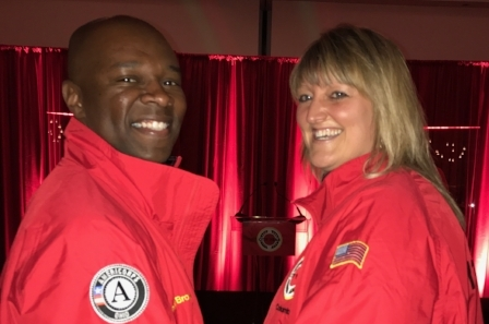 Tanya Crawford and Donald Brown in their Red Jackets