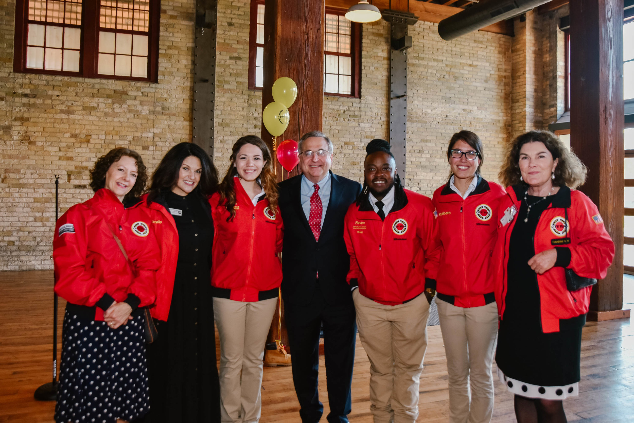 City Year leadership, Board members, and Red Jacket Society Ambassadors