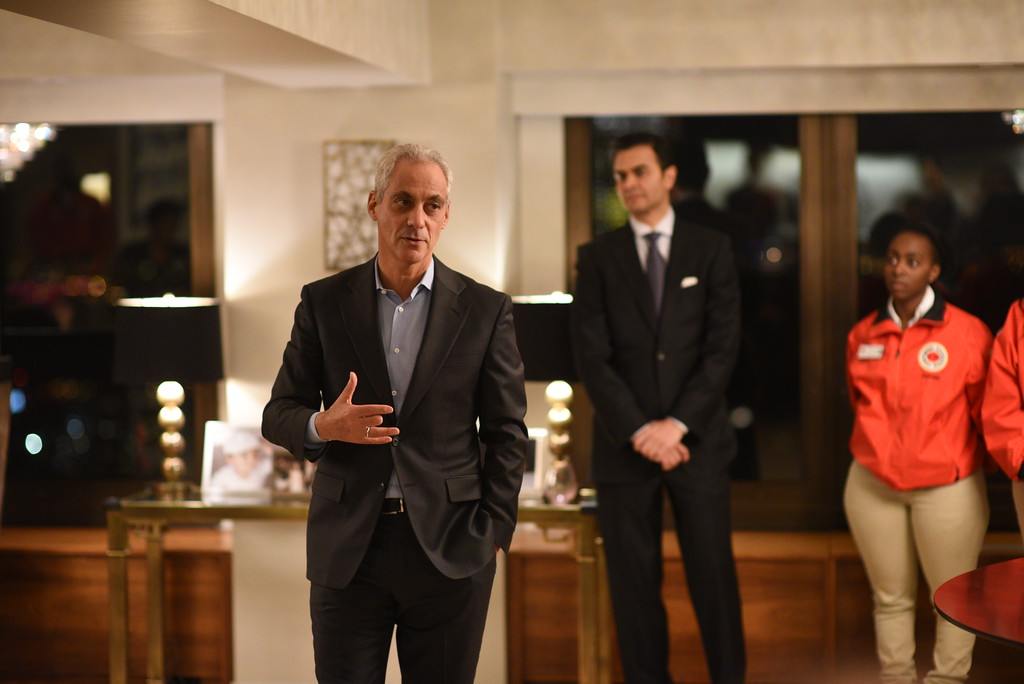 Mayor Rahm Emanuel speaking to event guests