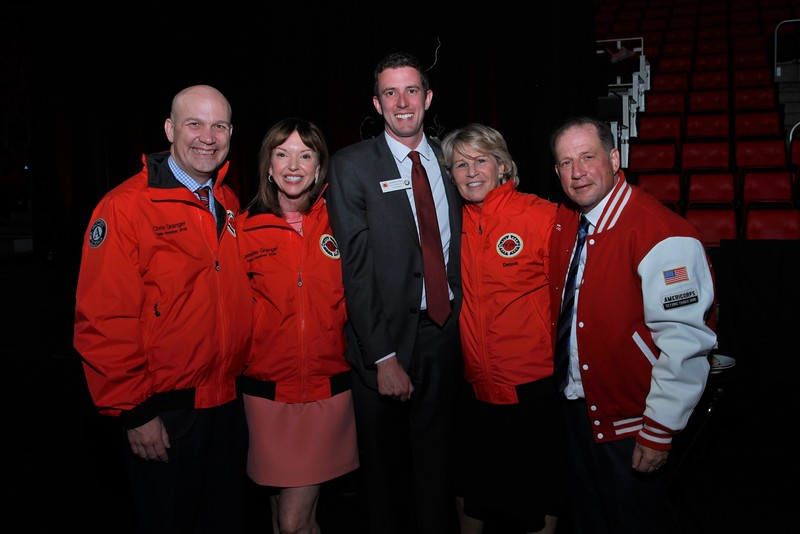 Jennifer and Chris Granger with Andrew Stein, City Year Detroit's Executive Director, Nancy Tellem and Arn Tellem, Vice Chairman for the Detroit Pistons