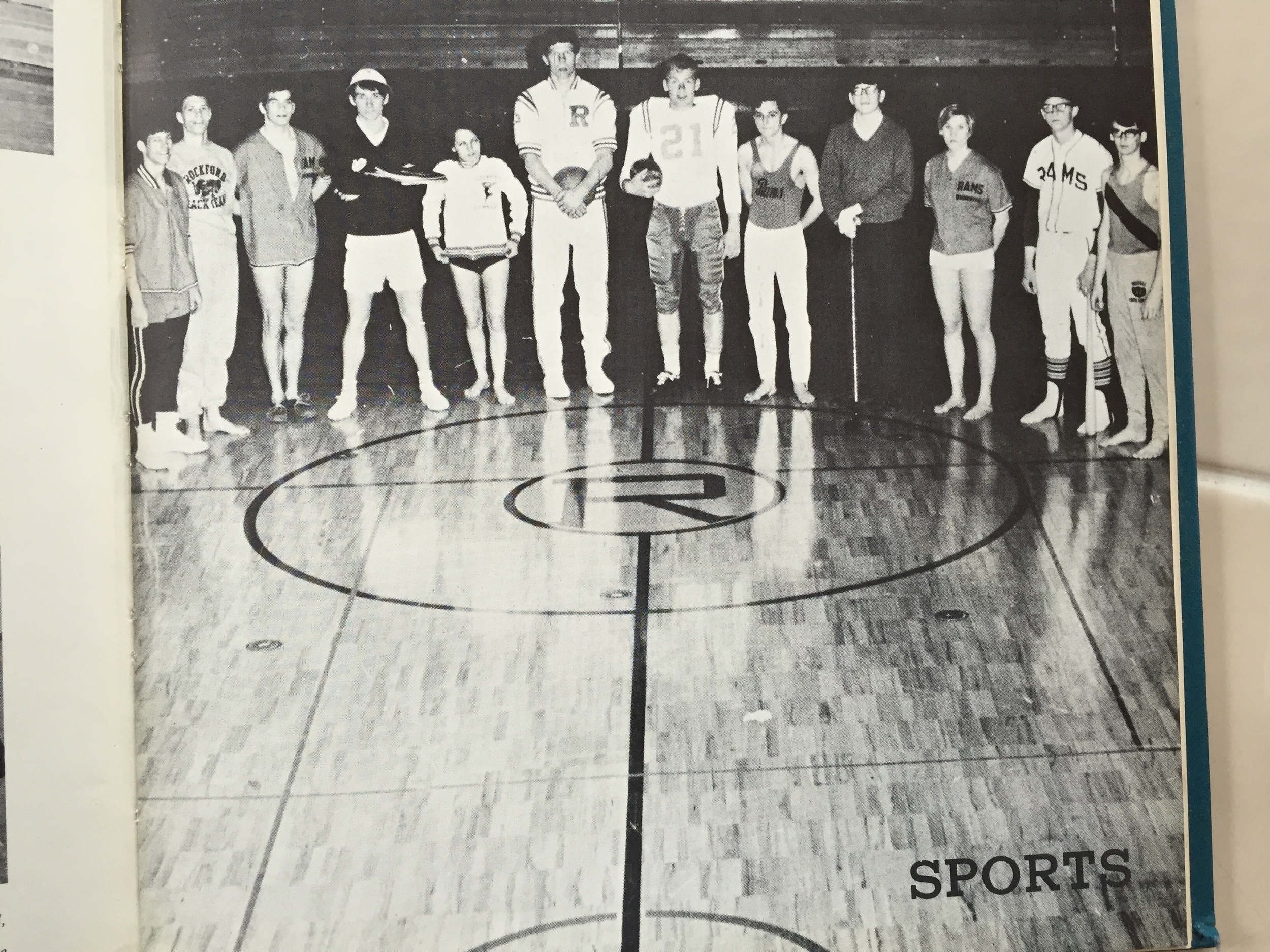 Yearbook Picture of the senior captains of the sports teams, 1969.