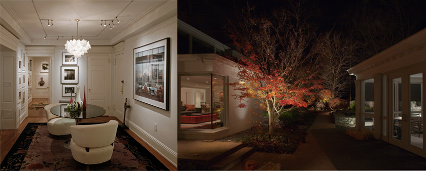 This interior focuses on highlighting art and photographs, and the landscape draws your attention to the gorgeous trees - the exterior version of art