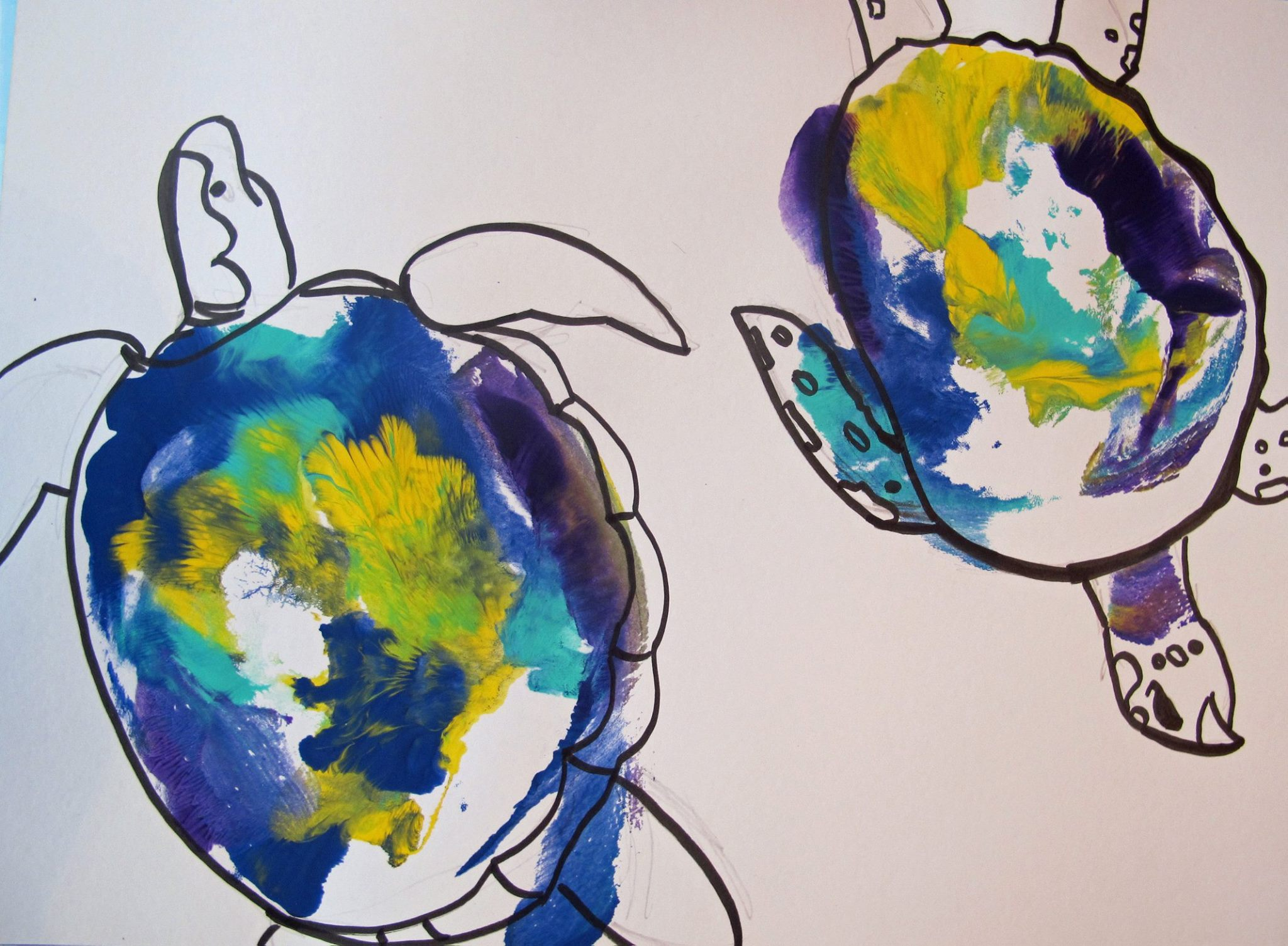 Two (breast) Turtles,   acrylic and ink on paper, 9x12, 2014