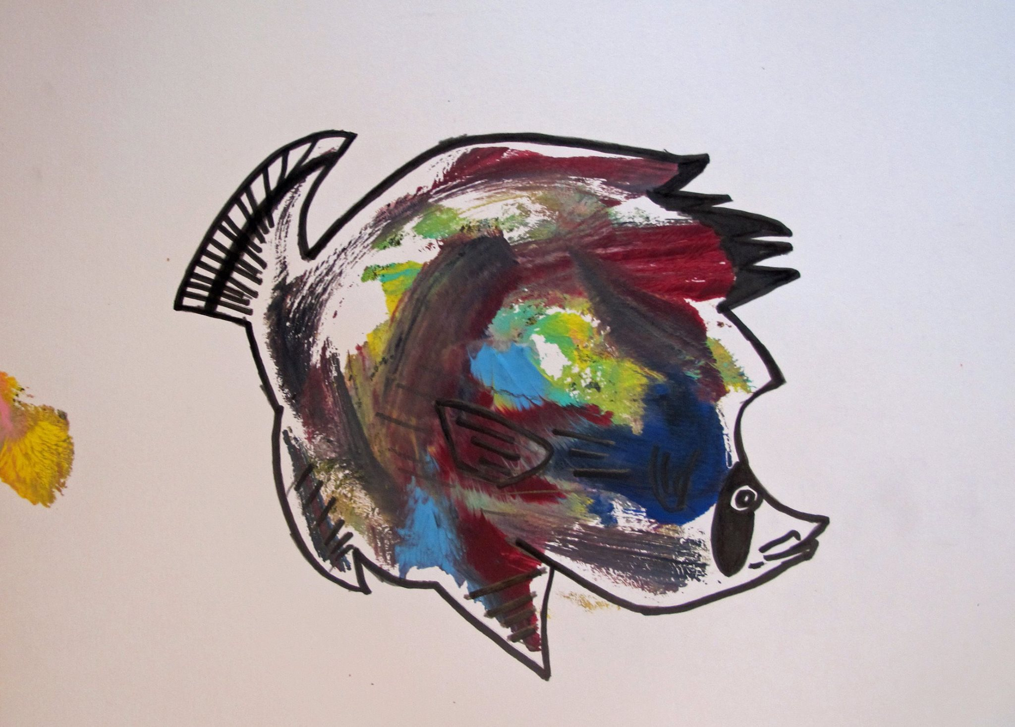 Rainbow (breast) fish ,acrylic and ink on paper, 9x12, 2014
