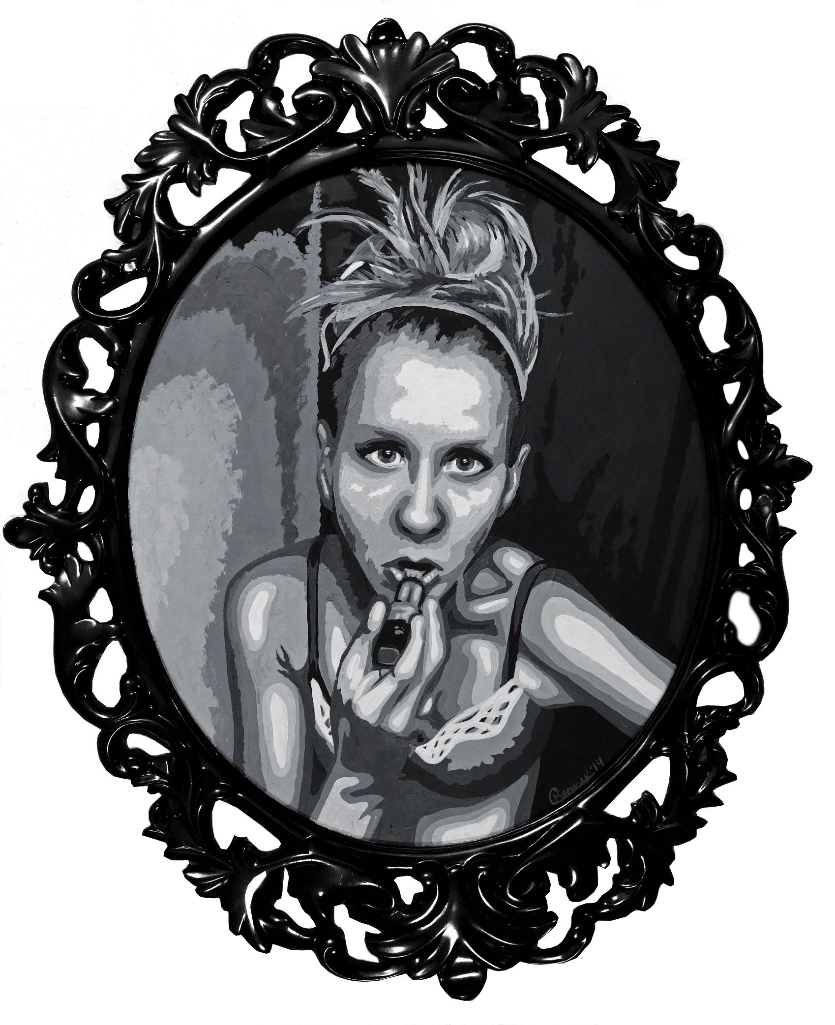 Courtney Kenny Porto, Mirror , acrylic on canvas 15 x 19