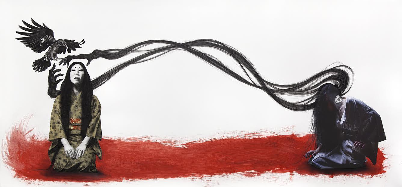 charcoal, washi paper, acrylic, photo print
