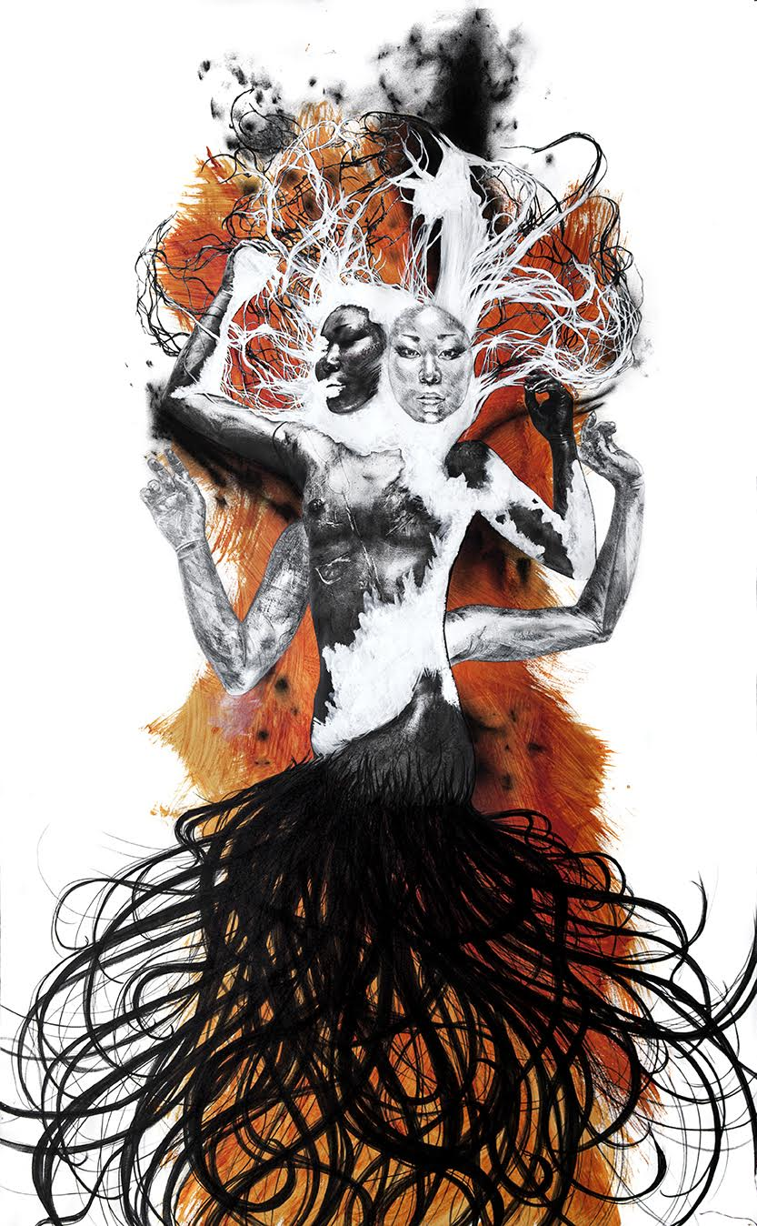 charcoal, graphite, ink, gouache, photo print, acrylic