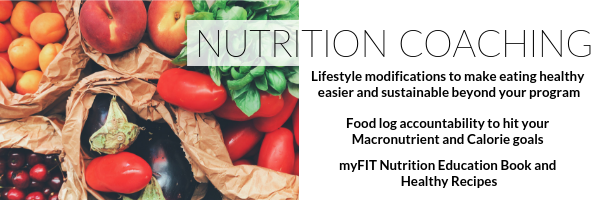 Multiple fruits and veggies and information on nutrition coaching