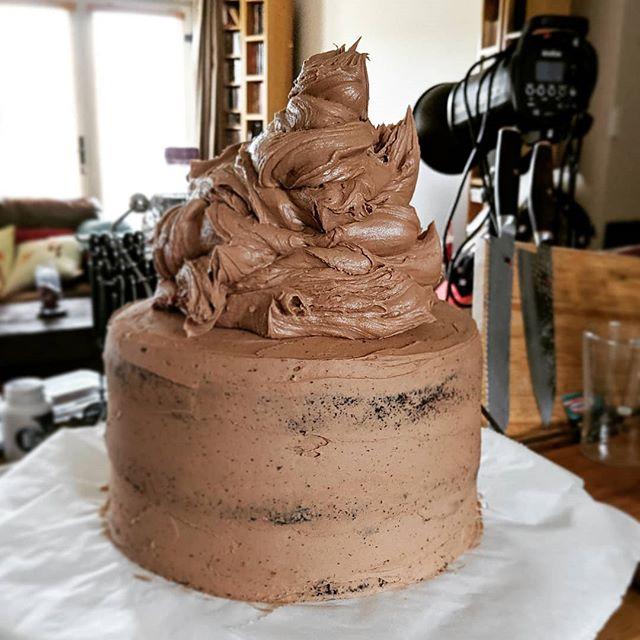 Just a bit of buttercream & chocolate. Just a bit. #thelastone #almostdone #chocolatecake #chocolate #working9to5 #workinprogress