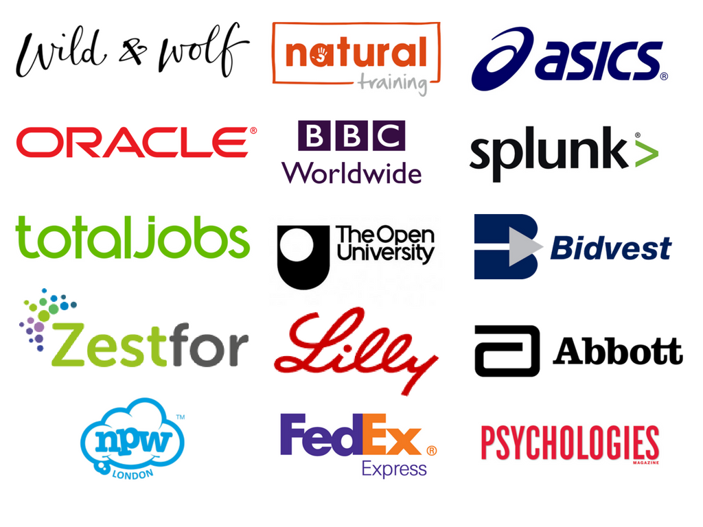 Companies Jen has worked with via CreativeMind,  Natural Training  and  Zestfor