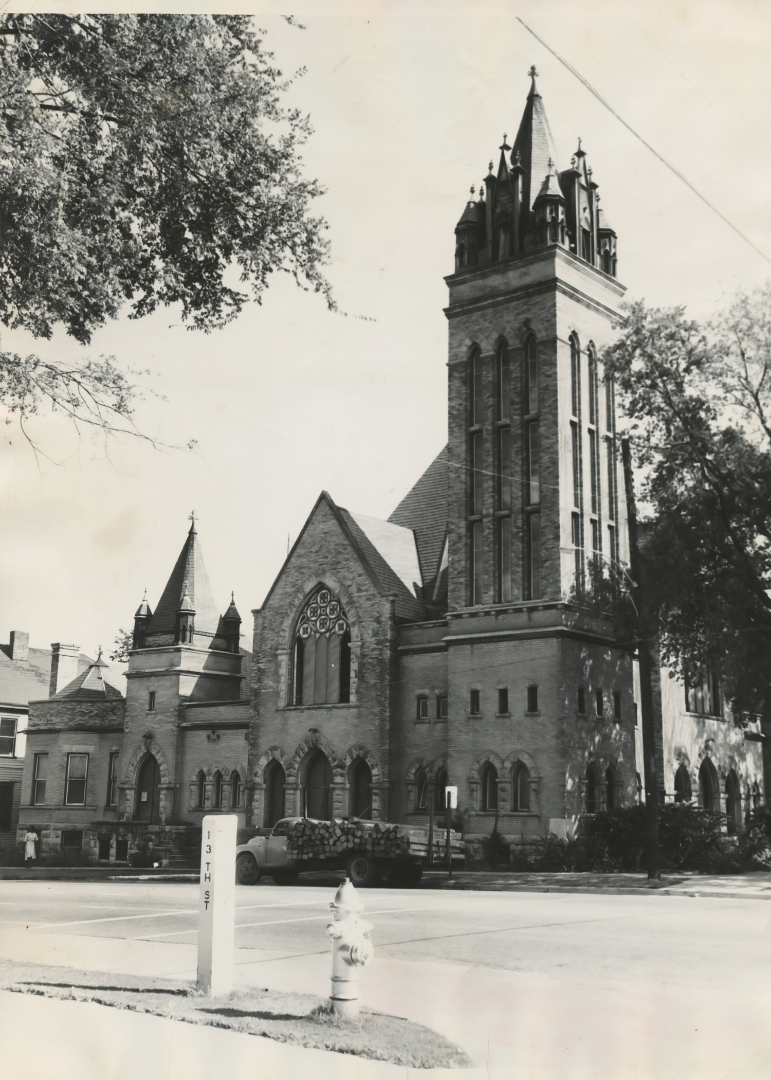 The second St. Paul Methodist Church building on the corner of 13th Street and 3rd Avenue.