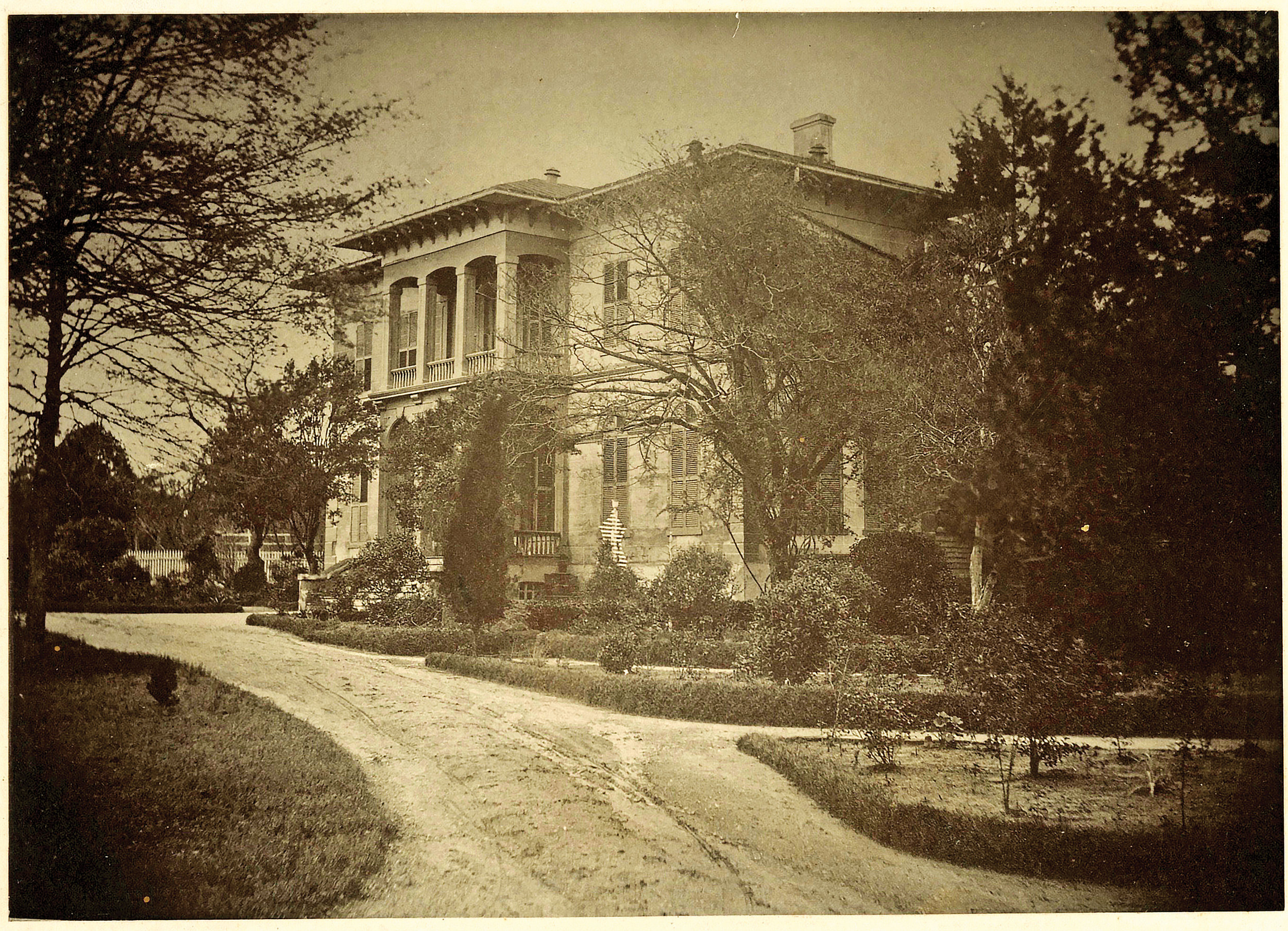 The four room home of Rev. Lovick Pierce after the 1855 renvoation by William W. Garrard. The home once stood in the wooded area where Hilton Avenue runs into Wynnton Road.