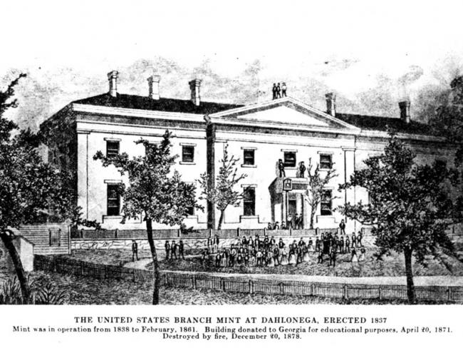 The United States branch mint at Dahlonega, erected in 1837. Destroyed by fire on December 20, 1878.
