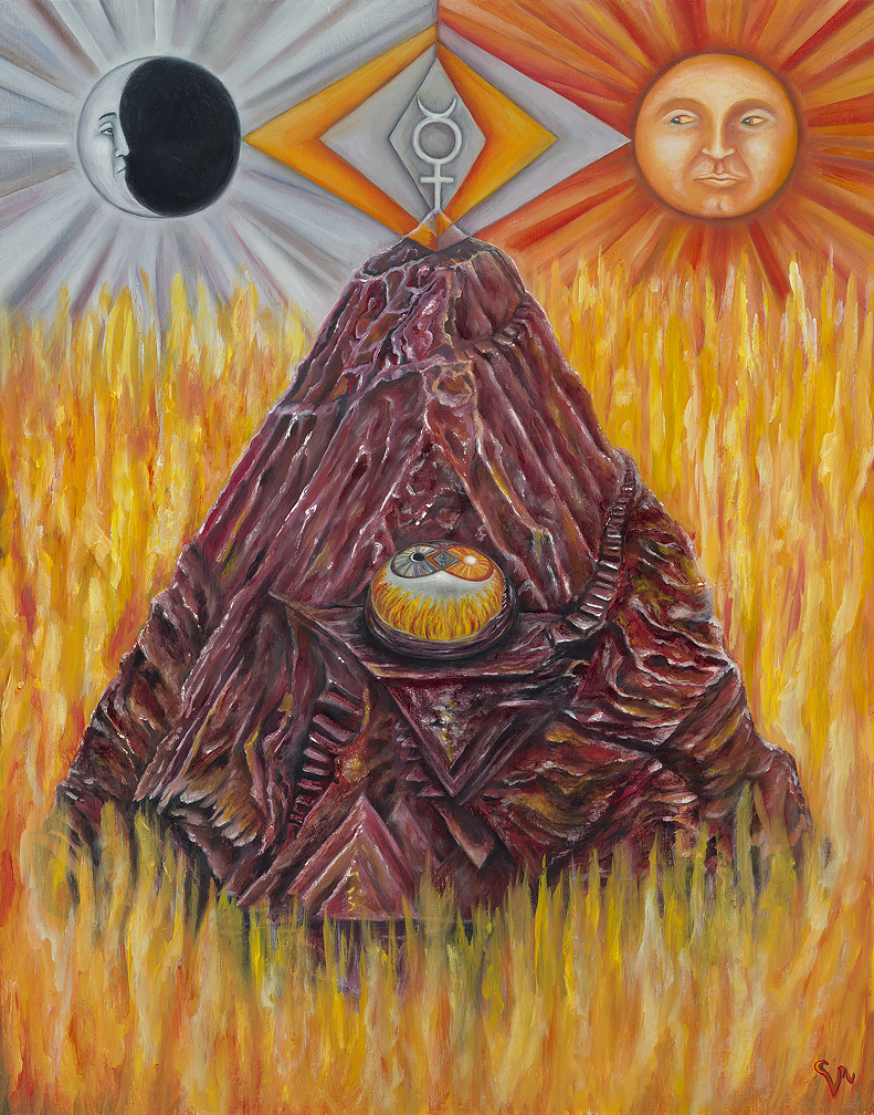"Roasting Cinnabar (Dragon's Blood) , oil and casein on panel, 2017 (11 x 14"") $1,800"
