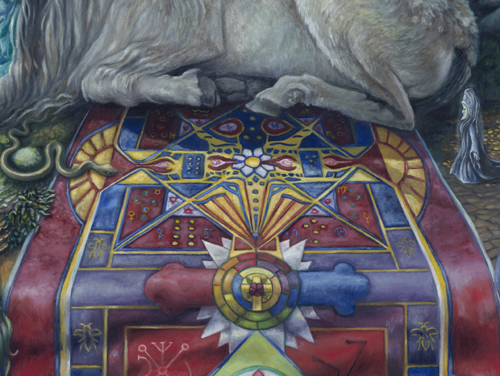 The central altar carpet portraying Lucifer, the golden pathway through the horns of the goat, a Geomantic divination for humanity, and the Rose-Cross.