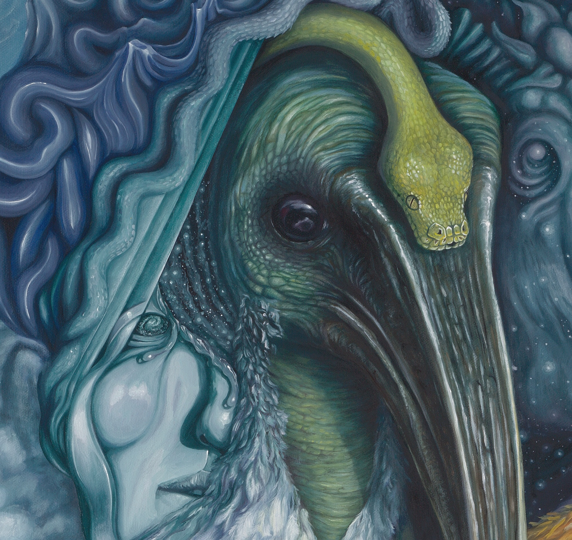 """Detail,  The Transfiguration of Thoth   [Squaring the Circle] , oil on canvas, 2018 (48 x 48"""") $16,640"""