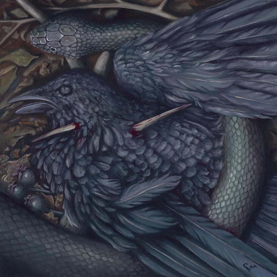 "Nigredo: The Black Haw (1/4),  oil on panel, 2018 (6x6"") $450"